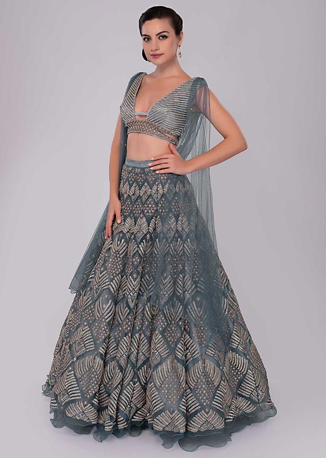 Iris Blue Net Lehenga And Blouse With Attached Net Drape With Side Slits Online - Kalki Fashion