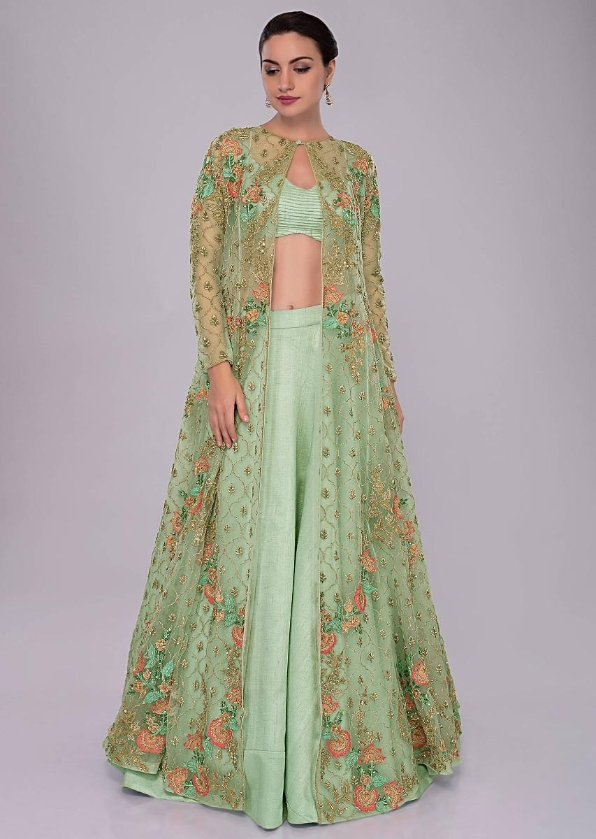 Buy Irish Green Skirt In Raw Silk And Blouse Paired With Long Net Embroidered Jacket Online Kalki Fashion