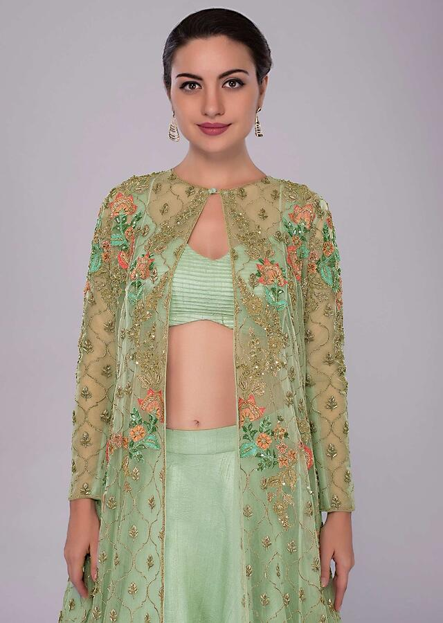 Irish Green Skirt In Raw Silk And Blouse Paired With Long Net Embroidered Jacket Online - Kalki Fashion