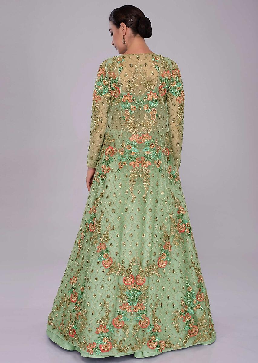 256a8f93c Irish Green Skirt In Raw Silk And Blouse Paired With Long Net Embroidered  Jacket Online - Kalki Fashion