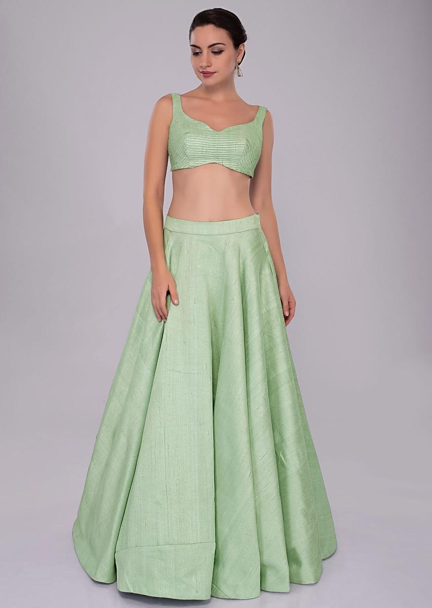 fd4f26440b Long Skirt And Blouse Designs: Irish green raw silk skirt and blouses  paired with long