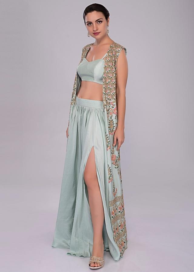 Irish Mint Skirt In Heavy Dupion And Bustier With Long Embroidered Jacket Online - Kalki Fashion
