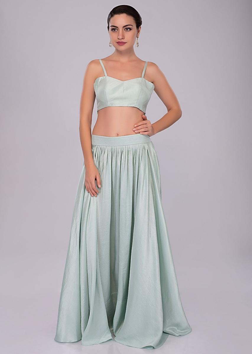 e9f630094 Irish Mint Skirt In Heavy Dupion And Bustier With Long Embroidered Jacket  Online - Kalki Fashion