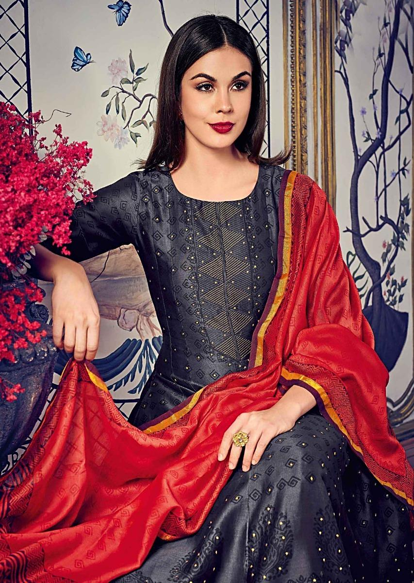 b630af9463c Iron grey anarkali suit in self print and zari embroidery matched with rust  dupatta