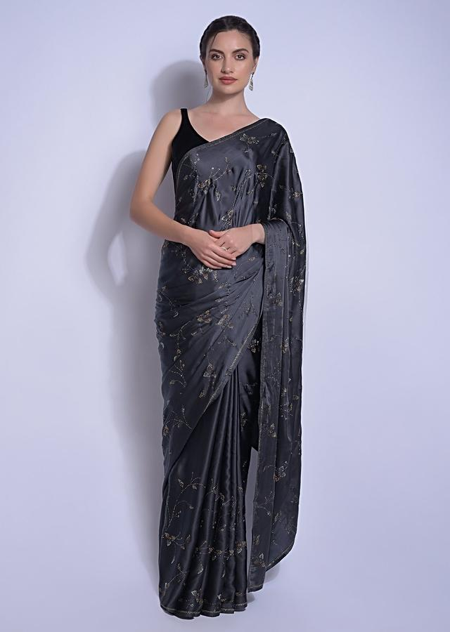 Iron Grey Saree In Satin With Kundan In Leaves And Floral Motifs Online - Kalki Fashion