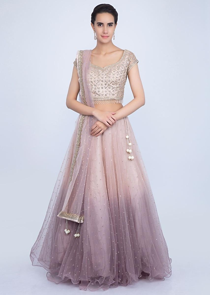 45a75a42c5 Ivory beige and lilac shaded net lehenga with matching embroidered blouse  only on KalkiMore Detail
