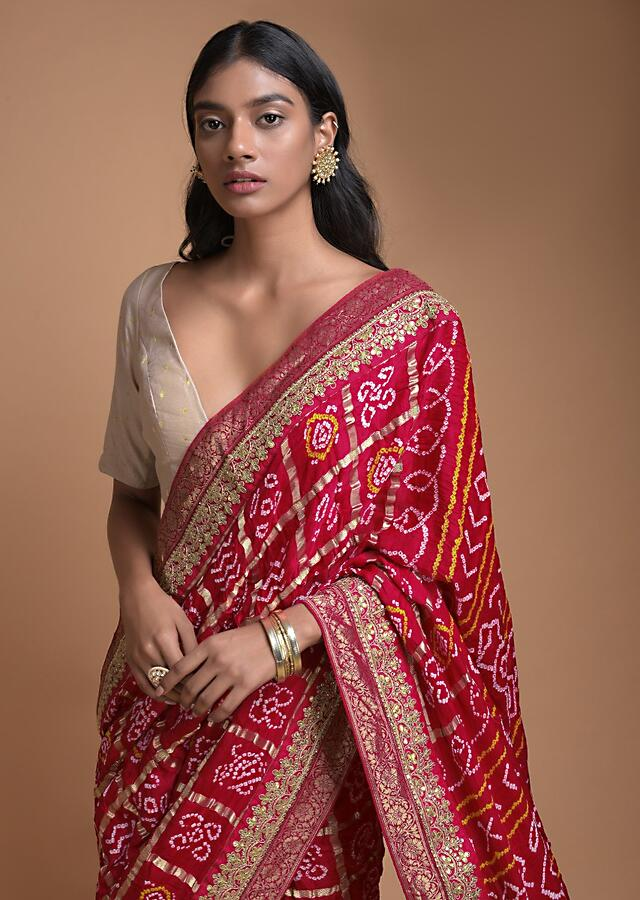 Ivory Beige And Red Half And Half Saree In Silk With Bandhani Print And Weaved Floral Buttis Online - Kalki Fashion