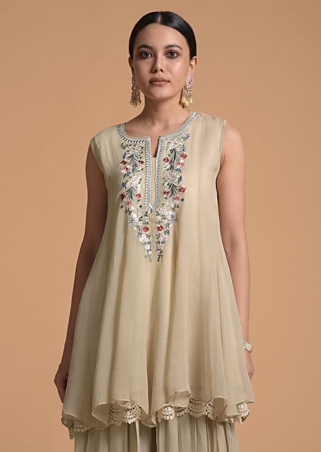 Ivory Beige Flared Palazzo Suit In Georgette With Multi Color Resham Embroidered Floral Design On The Placket Online - Kalki Fashion