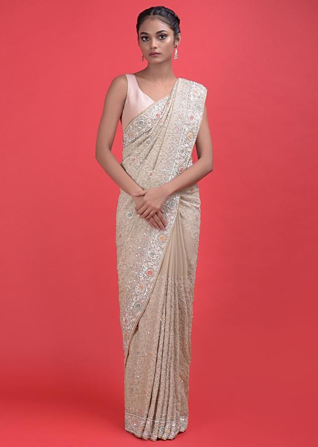 Ivory Beige Saree In Georgette With Lucknowi Thread Work Online - Kalki Fashion