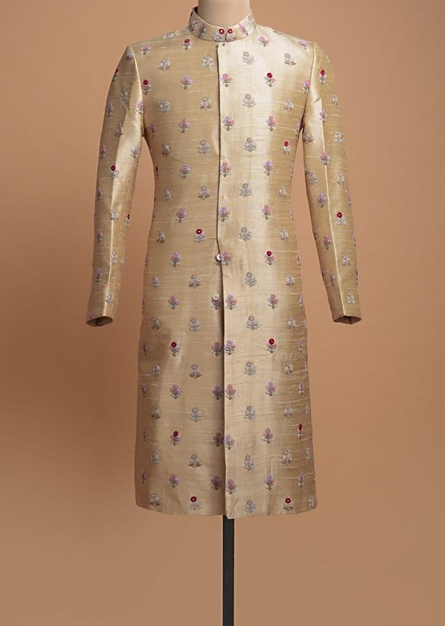 Ivory Beige Shervani In Raw Silk With Colorful Thread Embroidered Floral Buttis Online - Kalki Fashion