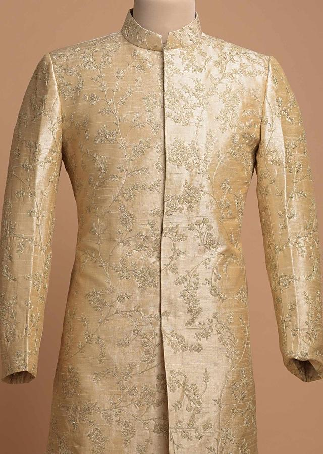 Ivory Beige Shervani In Raw Silk With Thread And Zari Embroidered Floral Jaal Pattern Online - Kalki Fashion