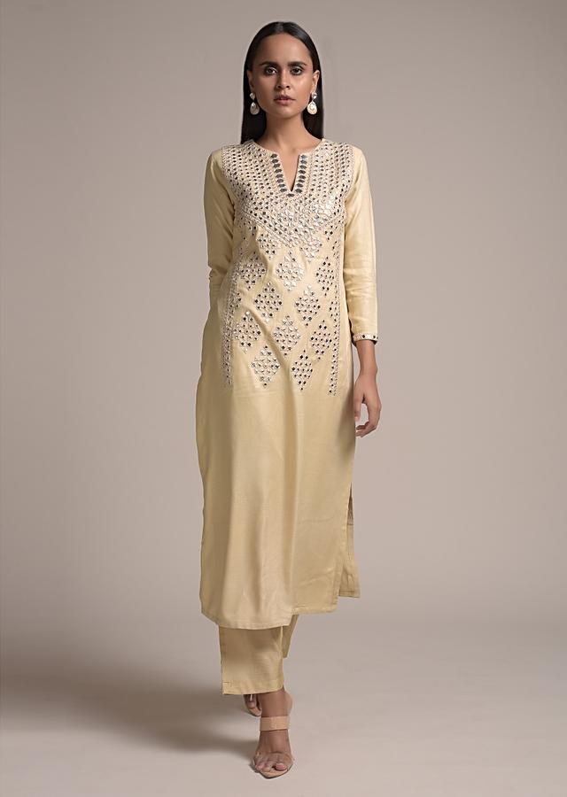 Ivory Beige Straight Cut Suit In Cotton Blend With Elaborate Abla Work In The Front Online - Kalki Fashion