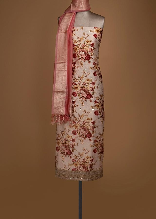 Ivory Beige Unstitched Suit In Cotton With Floral Print All Over Online - Kalki Fashion