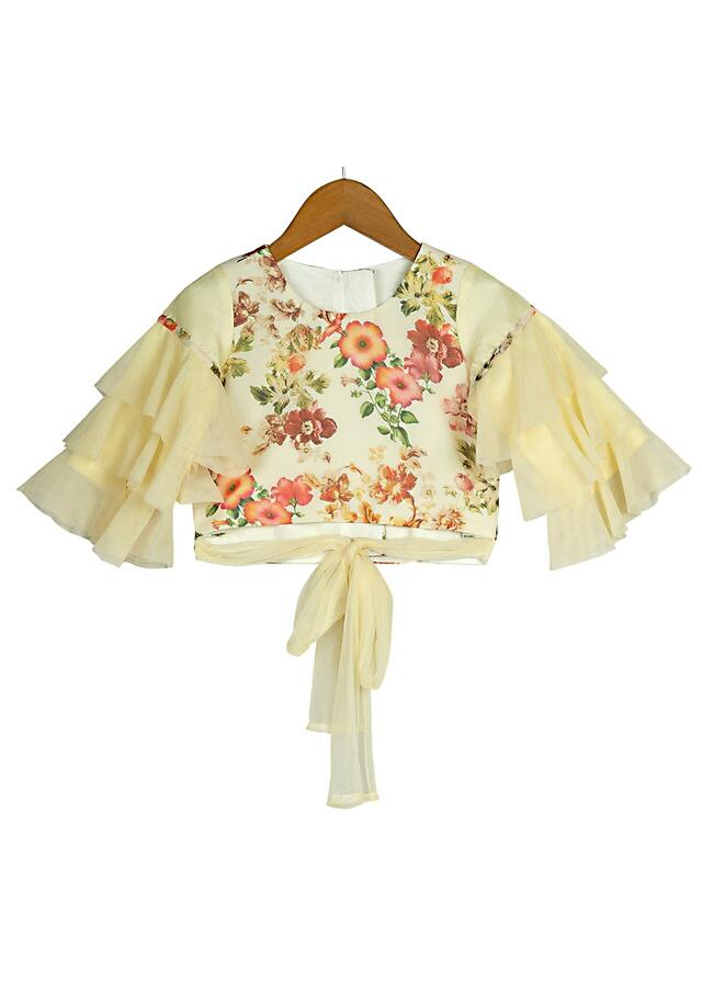 Ivory Crop Top And Sharara Set With Floral Print And Ruffle Sleeves Online - Free Sparrow
