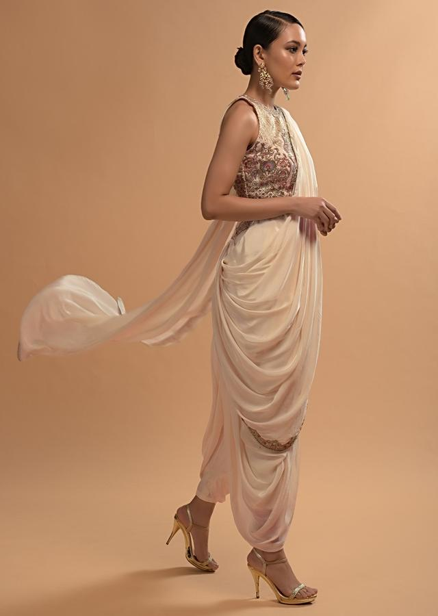 Ivory Dhoti Saree And Crop Top With Embossed Floral Embroidery And High Neckline Online - Kalki Fashion