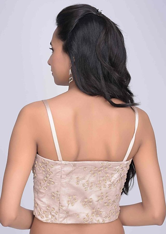 Ivory Corset Blouse In Embroidered Net With Satin Underlayer Online - Kalki Fashion