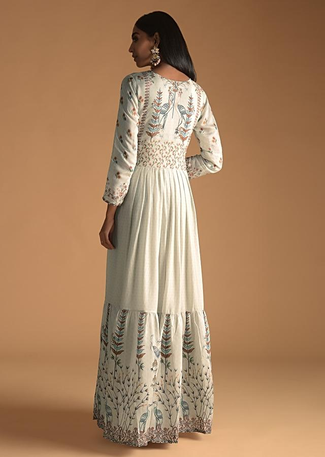 Ivory Grey Cotton Silk Tunic With Gotta Work And Printed Floral And Bird Motifs Online - Kalki Fashion