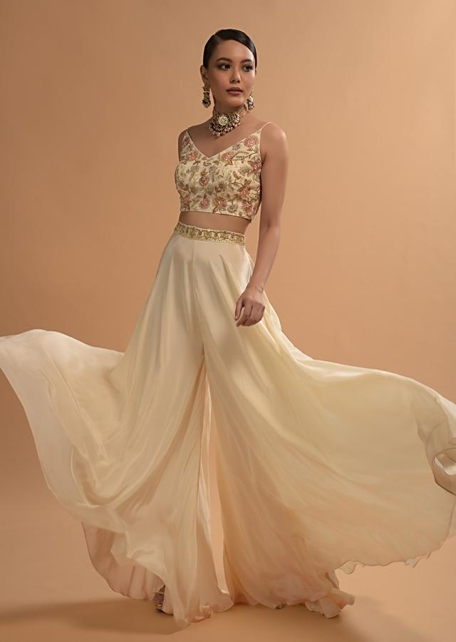 Ivory Palazzo Suit With Floral Embroidered Crop Top And Ruffle Jacket Online - Kalki Fashion