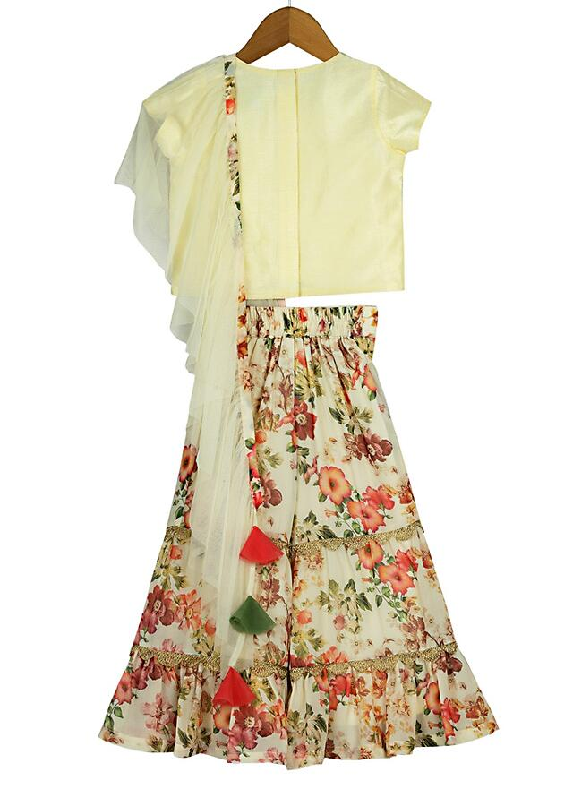 Ivory Sharara Set With Floral Print And Attached Ruffle Dupatta Online - Free Sparrow