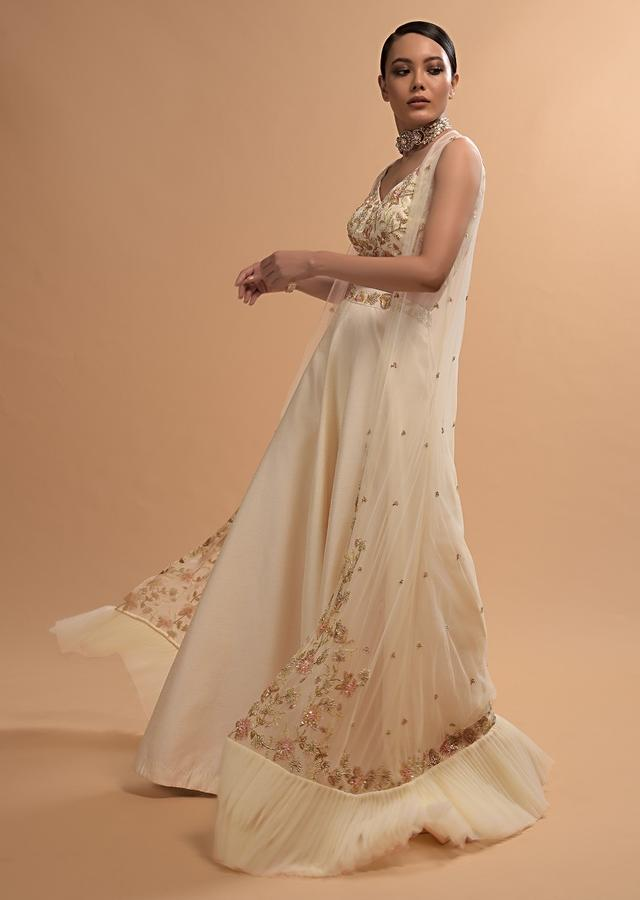 Ivory Skirt, Crop Top And Frill Jacket Set With Zardosi And Cut Dana Embroidered Floral Design Online - Kalki Fashion