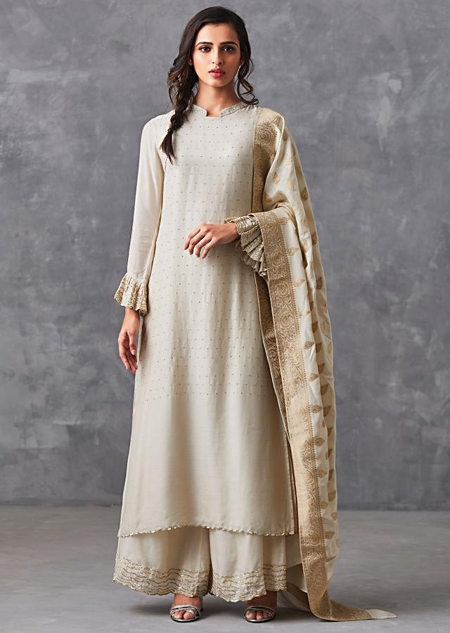 Ivory Straight Suit Adorn In Badla Work Matched With Palazzo Suit Online - Kalki Fashion