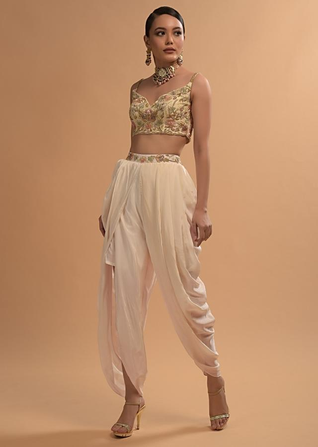 Ivory Tulip Dhoti And Crop Top Set With Embossed Embroidery And Sweetheart Neckline Online - Kalki Fashion
