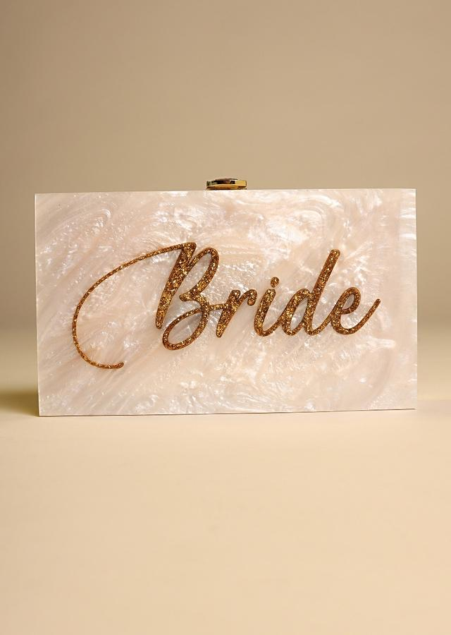 Ivory White Box Clutch For The Bride With Beautiful Marble Design Online - Kalki Fashion
