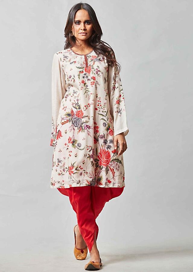Ivory White Suit In Printed Cotton With Strawberry Red Dhoti Pants Online - Kalki Fashion