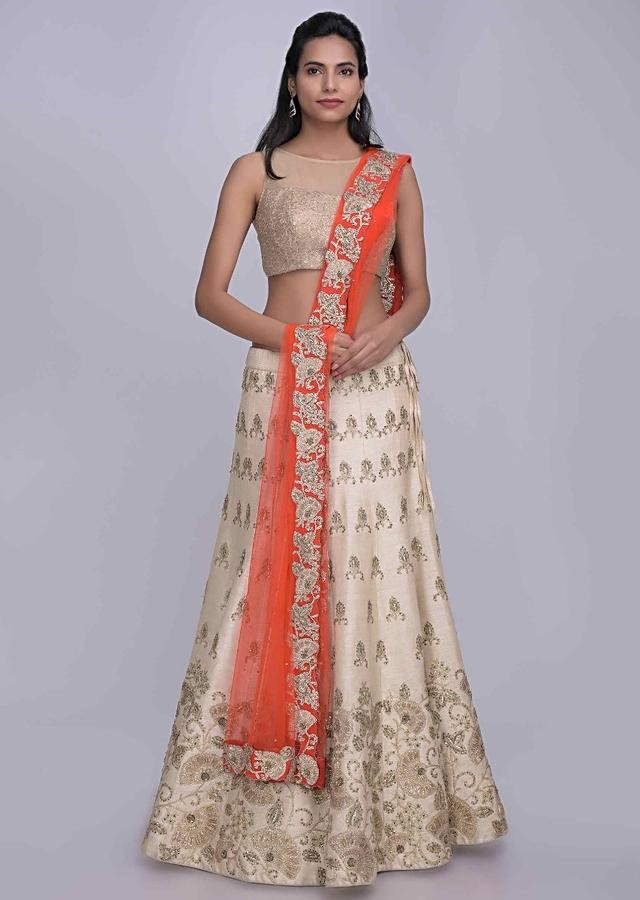Ivory White Lehenga In Raw Silk With Red Net Dupatta Online - Kalki Fashion