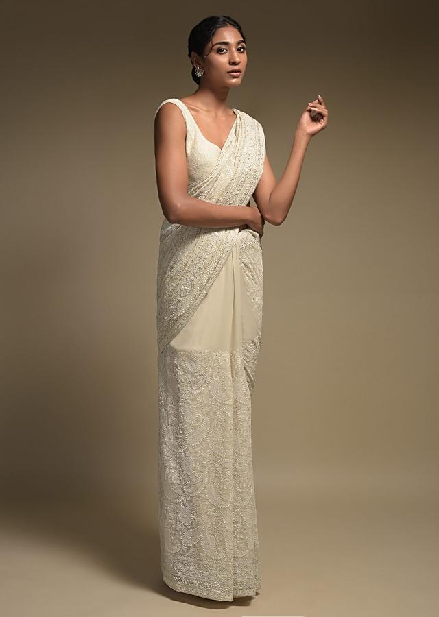 Ivory White Saree In Georgette Adorned With Lucknowi Thread Embroidery In Paisley Jaal Online - Kalki Fashion