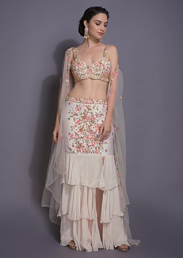 Ivory White Skirt With Ruffle Layers In Raw Silk And Crepe With Crop Top And Net Jacket Online - Kalki Fashion