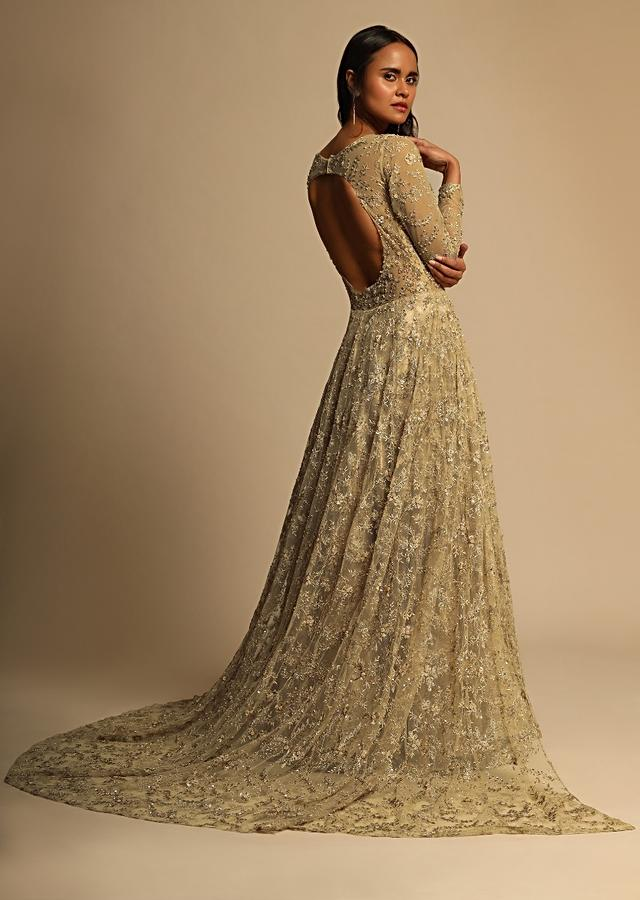 Ivory & Beige Cocktail Dress Adorned With Intricate Pearl Embroidery And 3D Flowers Online - Kalki Fashion