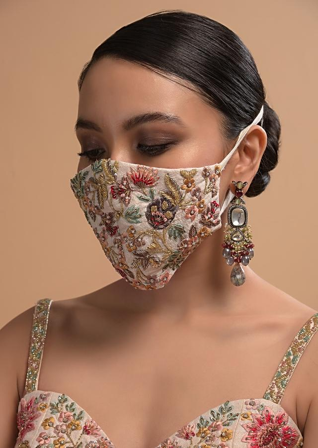 Ivory Face Mask In Raw Silk With Colorful Resham Embroidered Floral Jaal Online - Kalki Fashion