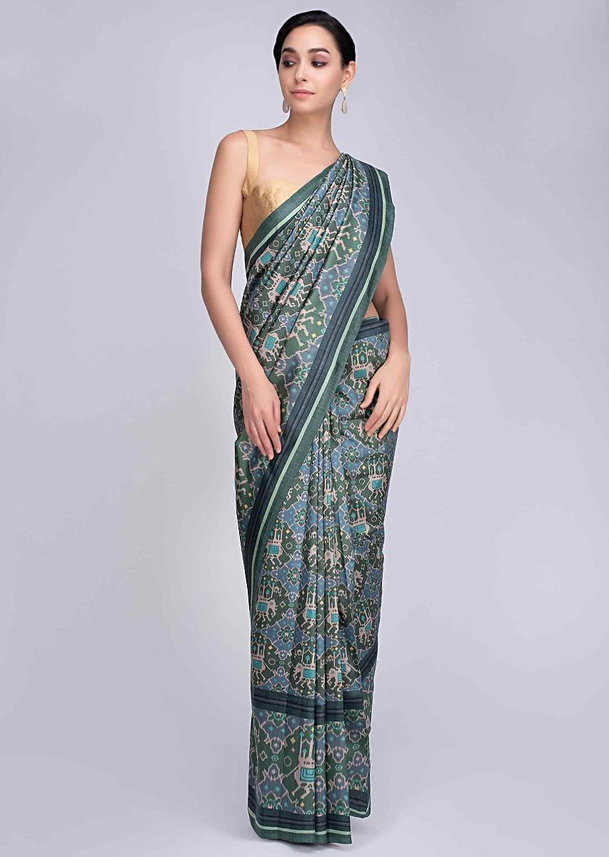 6c953d27c1 Jade green and powder blue Ikkat Printed silk saree in elephant motif only  on KalkiMore Detail