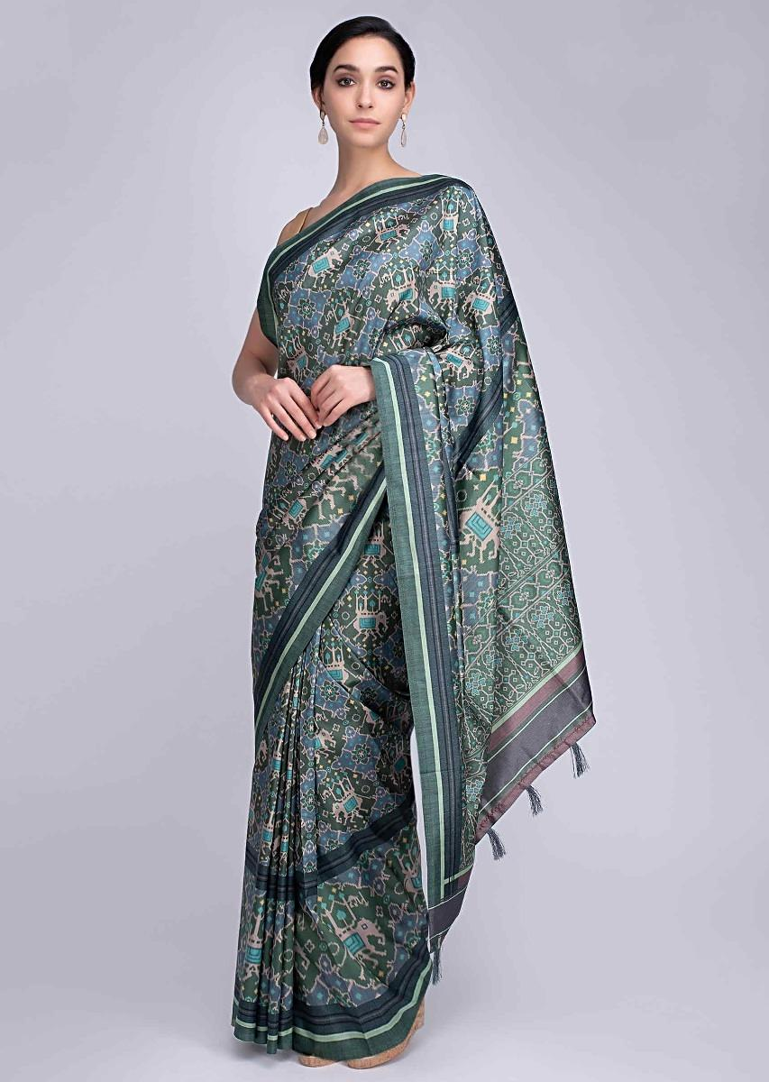 2544406f52 Jade green and powder blue Ikkat Printed silk saree in elephant motif only  on Kalki