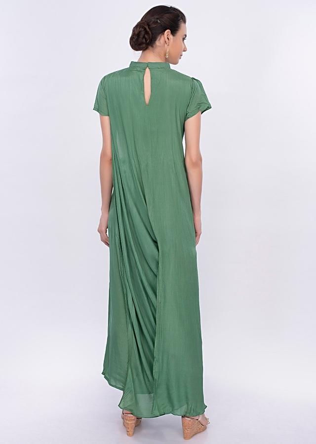 Jade Green Tunic Dress In Santoon With Cowl Drape Online - Kalki Fashion