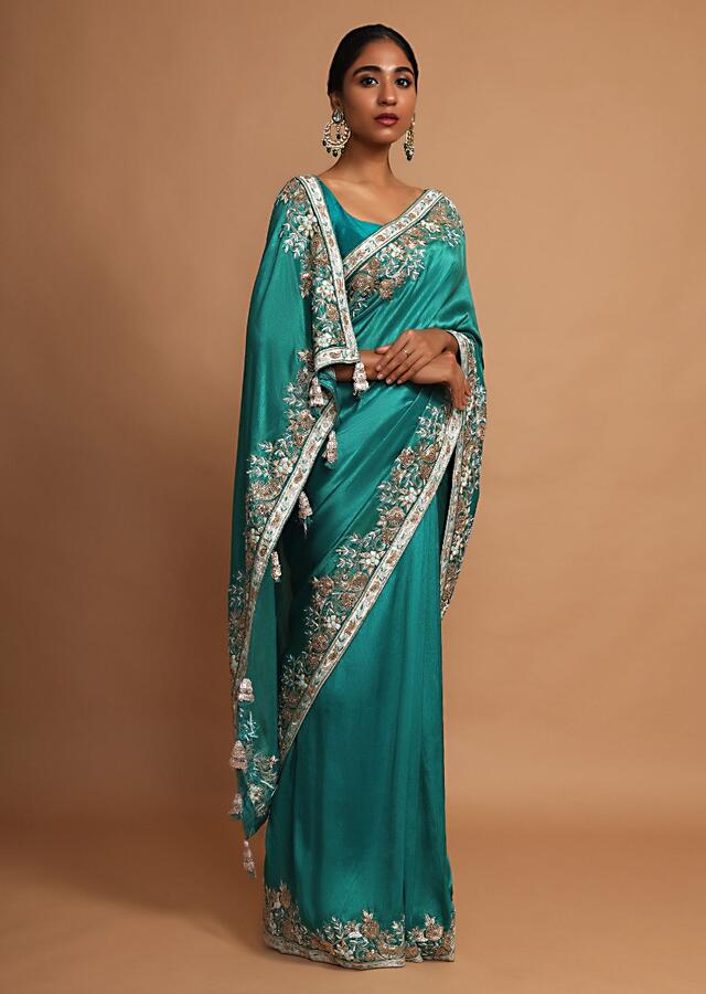 Jade Green Saree In Dupion Silk With Thread And Zardozi Embroidered Floral Border Online - Kalki Fashion