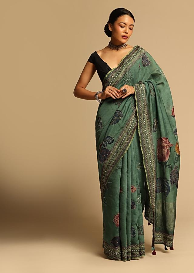 Jade Green Saree In Tussar Silk With Floral Print And Geometric Hand Embroidered Border Using Colorful Threads Along With Unstitched Blouse Online - Kalki Fashion