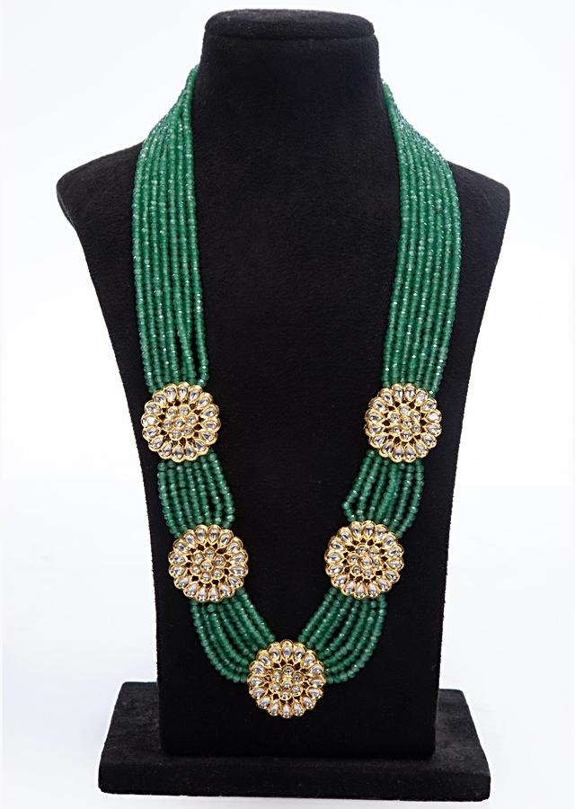 Jade green shade multi layer traditional necklace with floral broach only on Kalki
