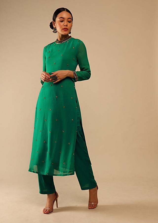 Jade Green Straight Cut Suit In Georgette With Sequin Embellished Buttis Online - Kalki Fashion