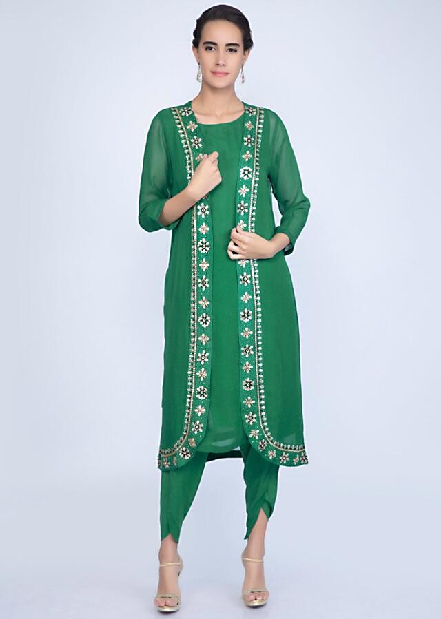 Jade Green Suit And Dhoti Pant With Long Embroidered Jacket Online - Kalki Fashion