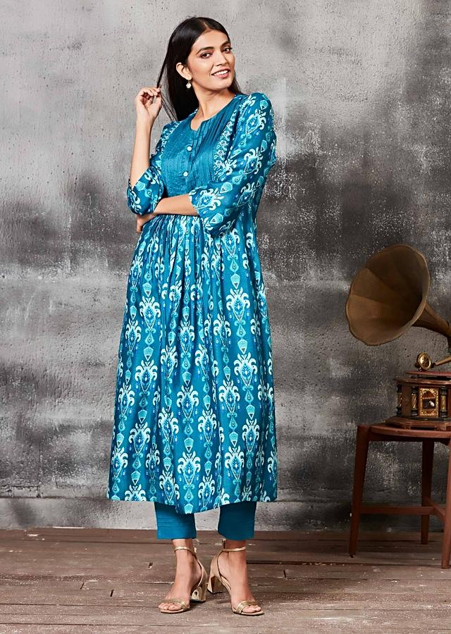 Jamaica Blue Anarkali Suit With Thread Embroidery And Ethnic Print Online - Kalki Fashion