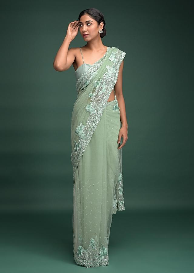 Jardin Green Saree In Net With Resham Embroidered Floral Pattern On The Border Online - Kalki Fashion