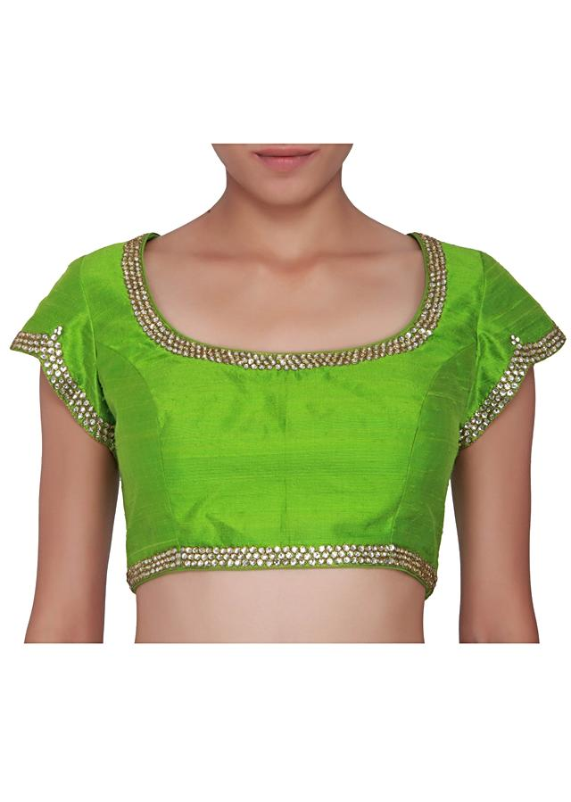 Jasmine green blouse in raw silk embellished in stone only on Kalki