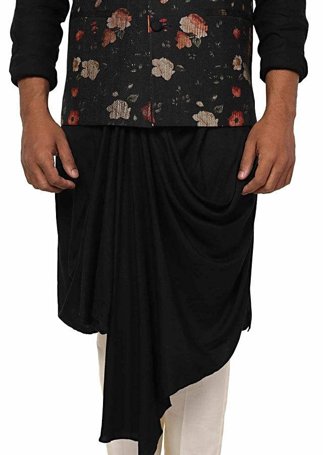 Jet Black Kurta Set With Asymmetrical Front Drape Paired With A Floral Printed Stitch Lines Jacket Online - Kalki Fashion