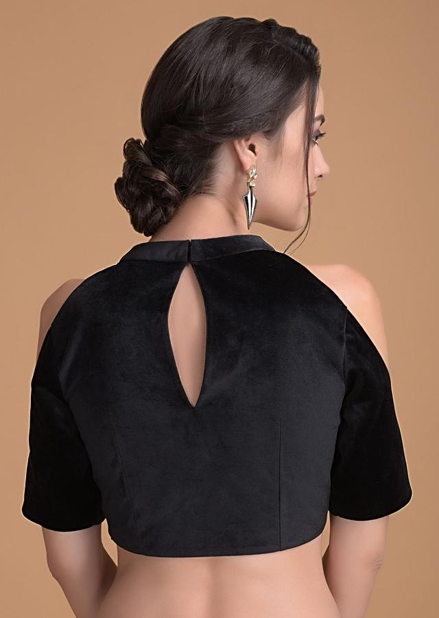 Jet Black Blouse In Velvet With Cut Out On The Neckline Online - Kalki Fashion