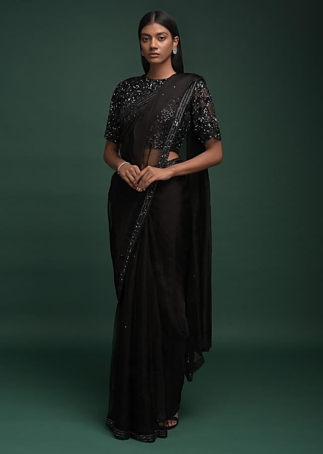 Jet Black Saree In Organza With Cut Dana, Crochet Lace And Sequins Work On The Border Online - Kalki Fashion