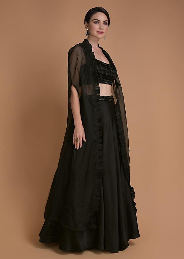 Jet Black Skirt And Crop Top With Cut Dana Work And Organza Jacket Online - Kalki Fashion