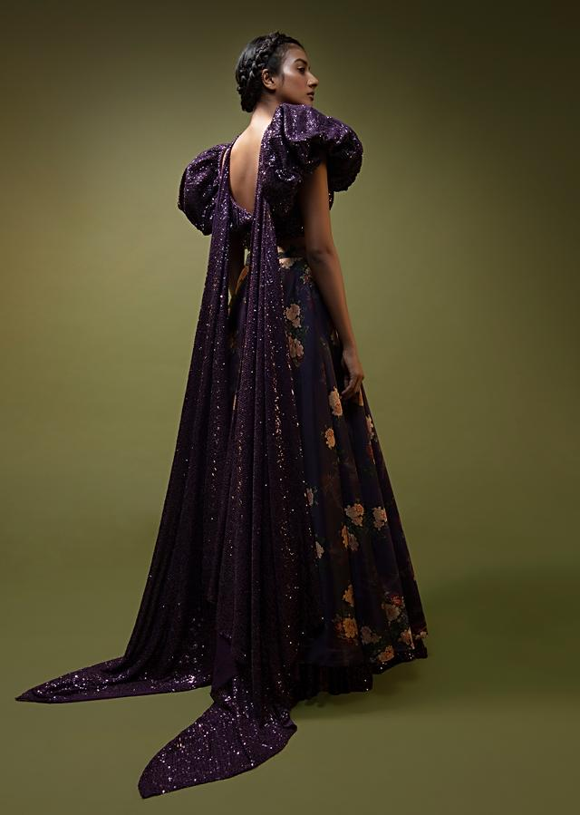 Jewel Purple Lehenga In Floral Printed Satin With A Sequins Crop Top Designed With An Elaborate Puff On The Shoulder And Neckline Online - Kalki Fashion