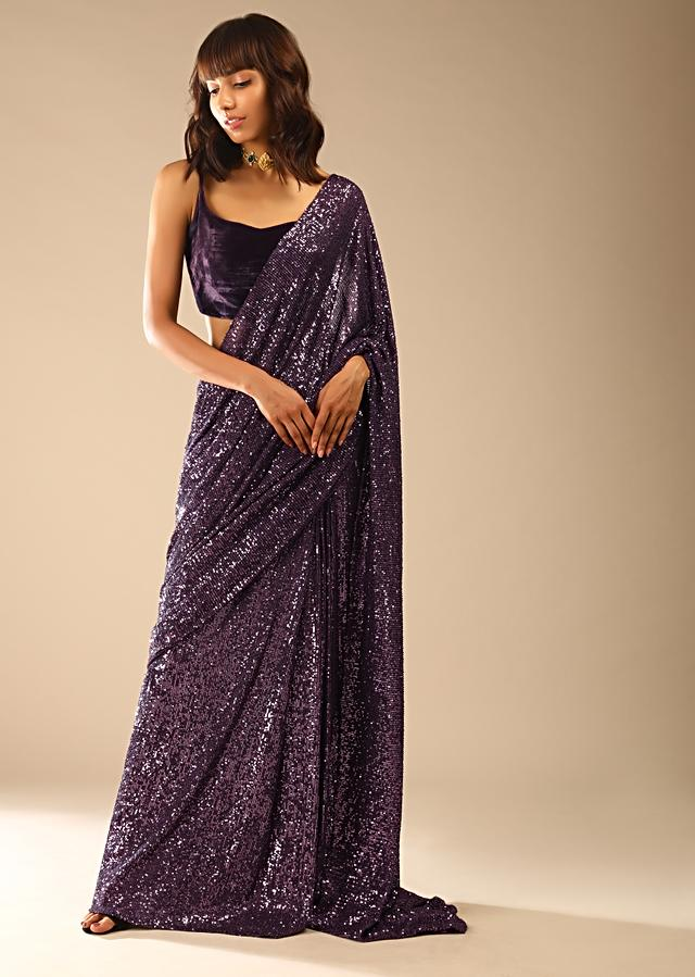 Jewel Purple Ready Pleated Saree In Sequins Fabric With A Strappy Velvet Crop Top Online - Kalki Fashion